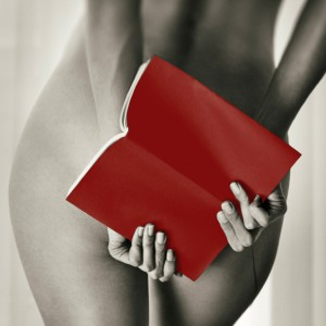 nude with book